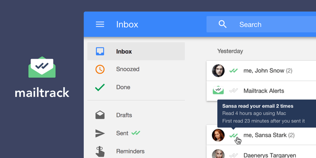 Example of mailtrack in Google Inbox
