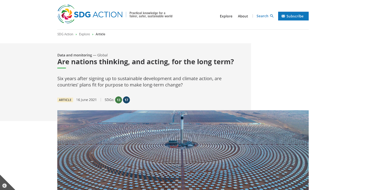 Screenshot of the full article on the SDG Action Platform