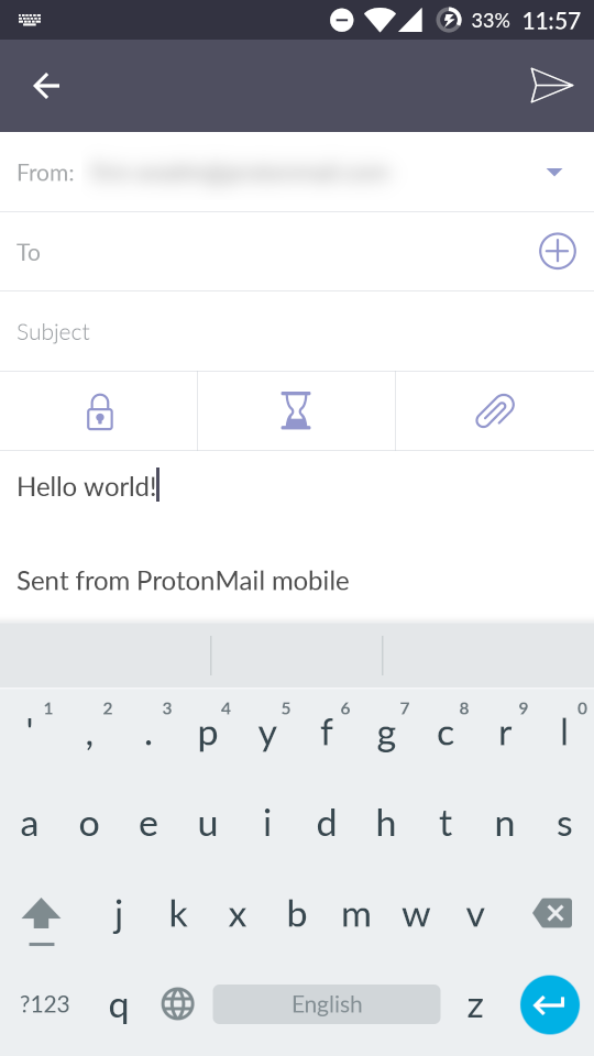 Screenshot of Dvorak keyboard layout on Android