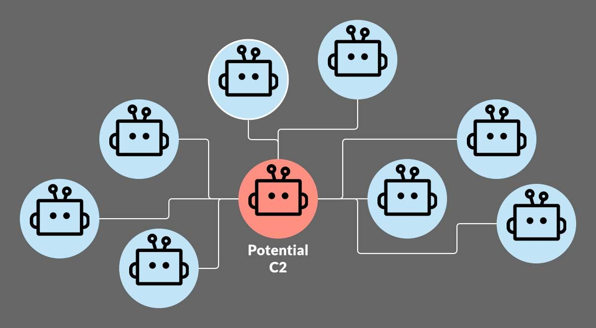 Figure 2: Potential C2 determined by a one-to-many relationship to tagged bots.