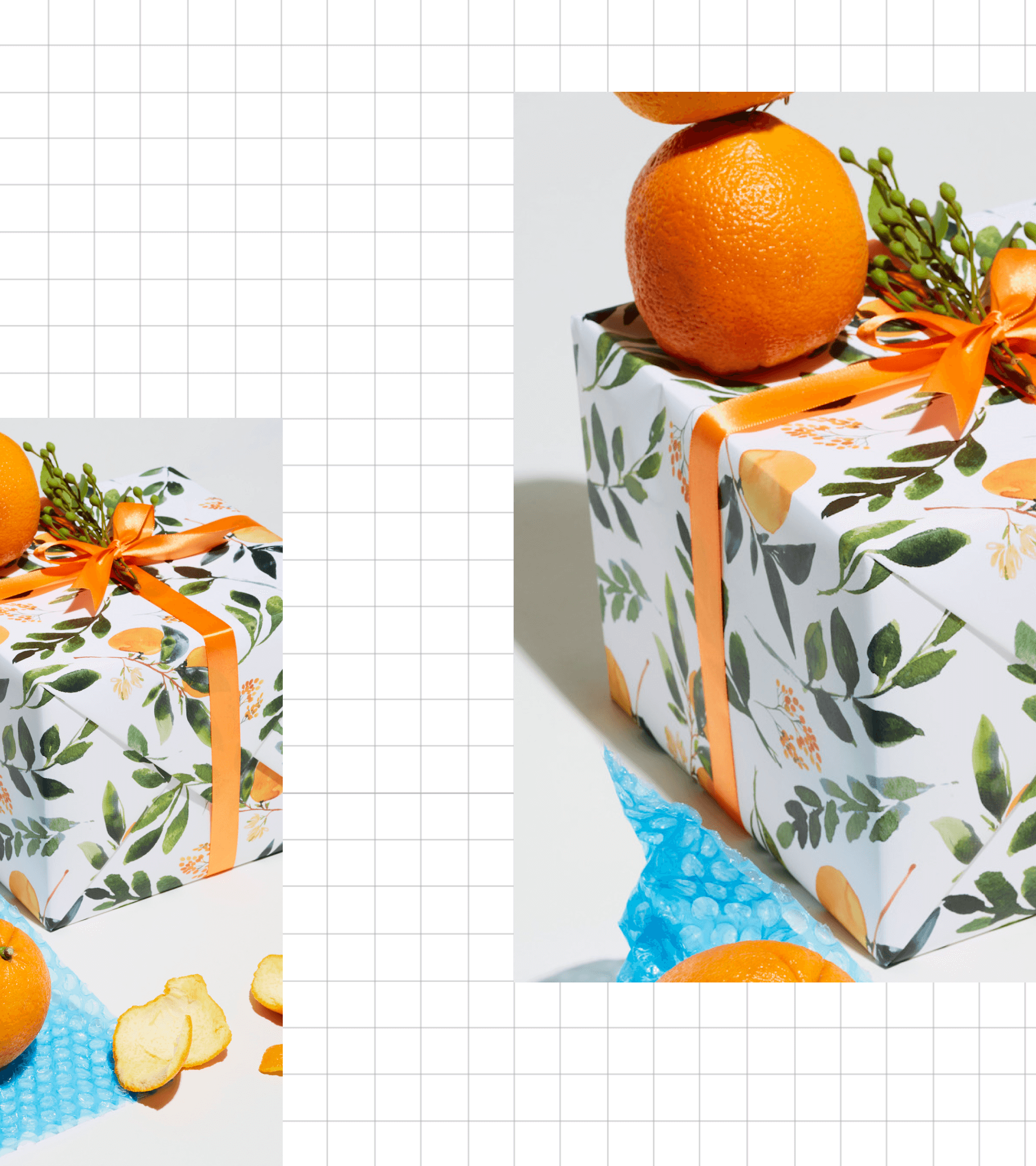 Photos of wrapped presents on a grid