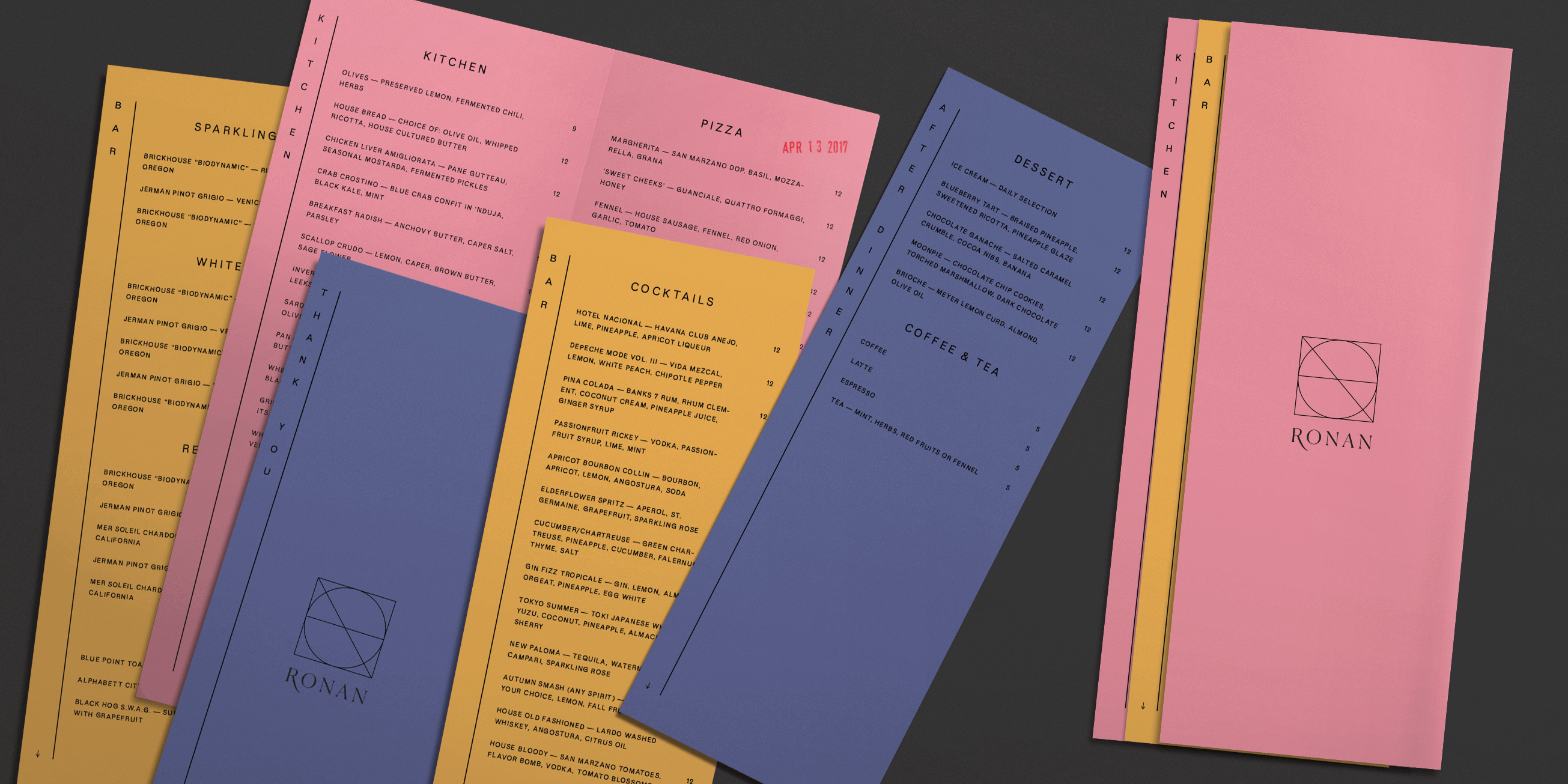 Spread of the menu sheets