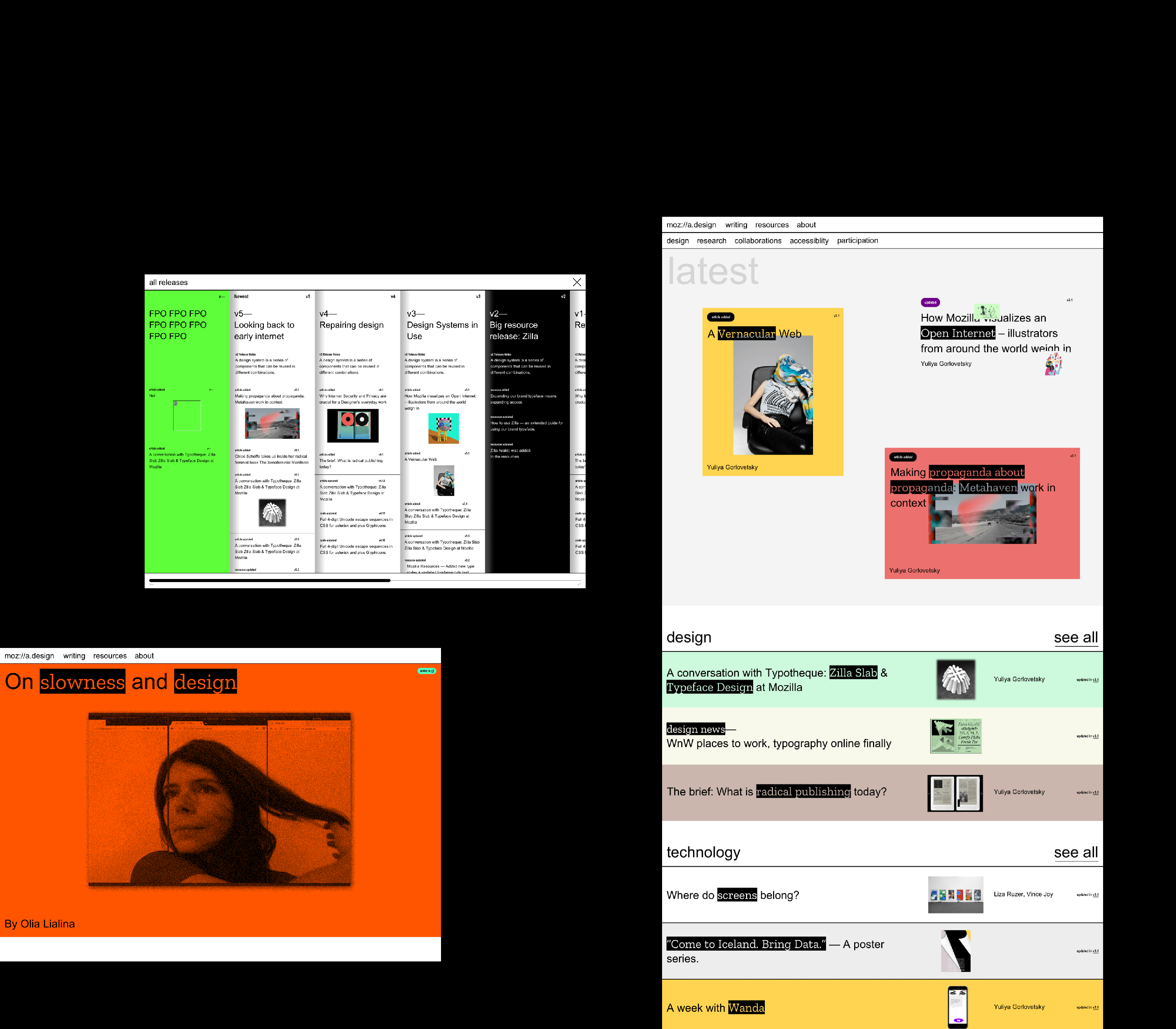 Screens of early explorations in the design process