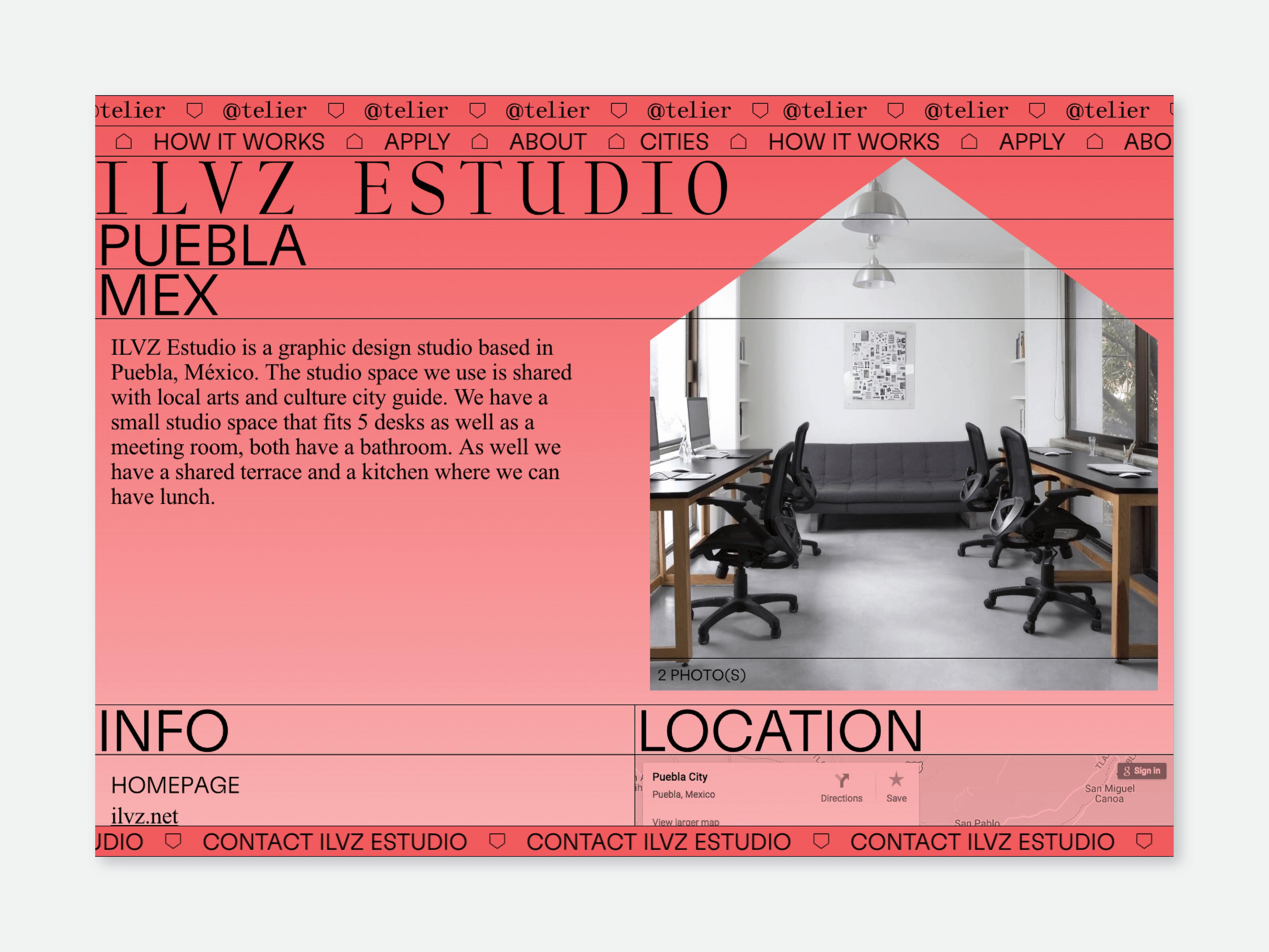 Studio detail page