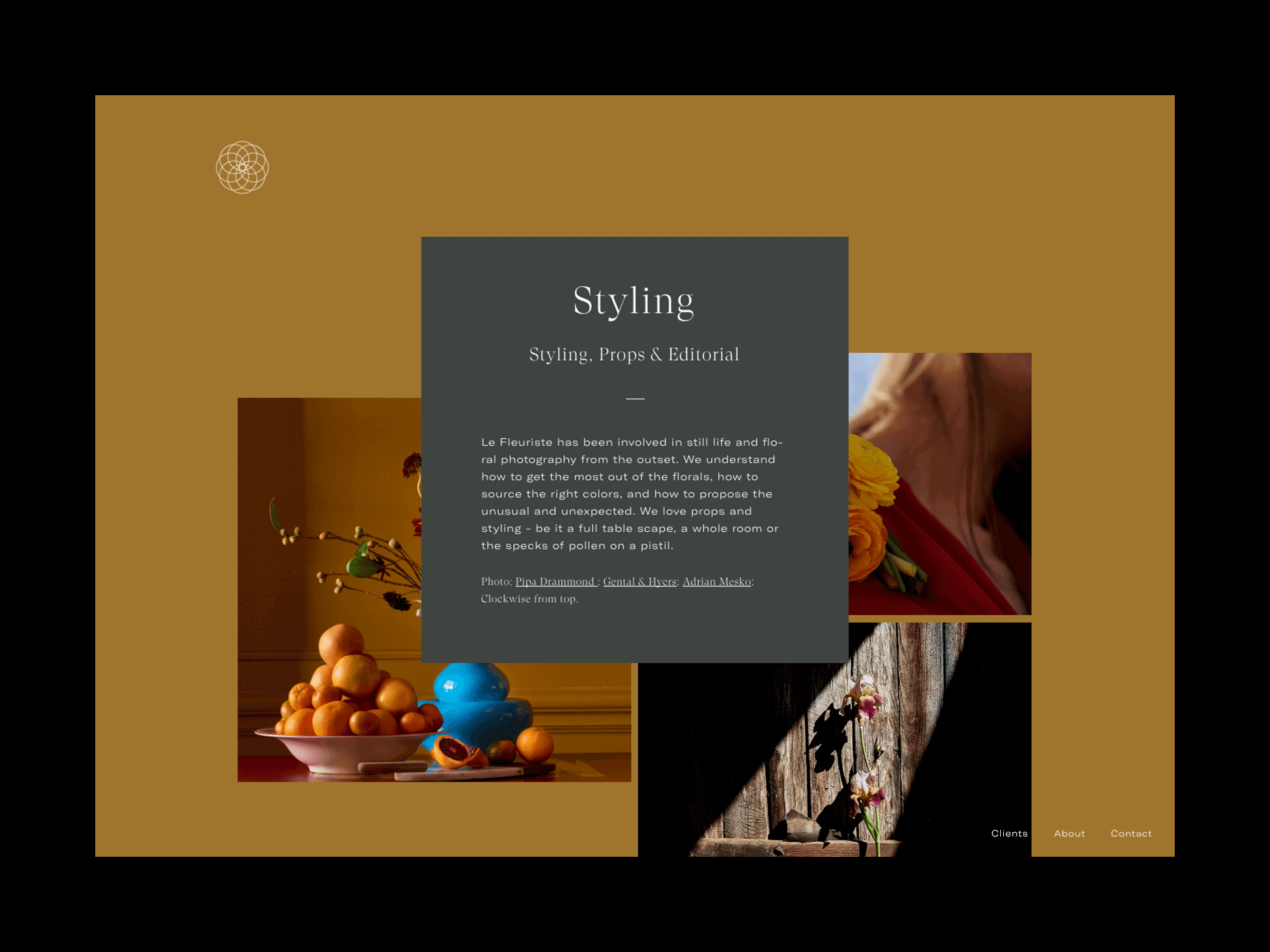 Le Fleuriste styling section of website