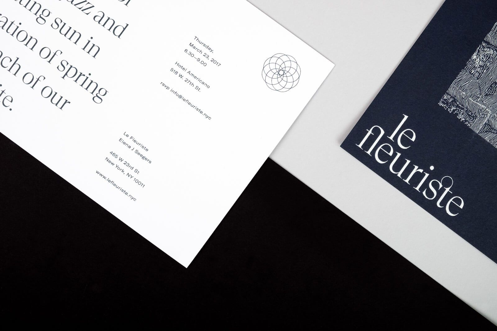 Close-up of printed Le Fleuriste collateral