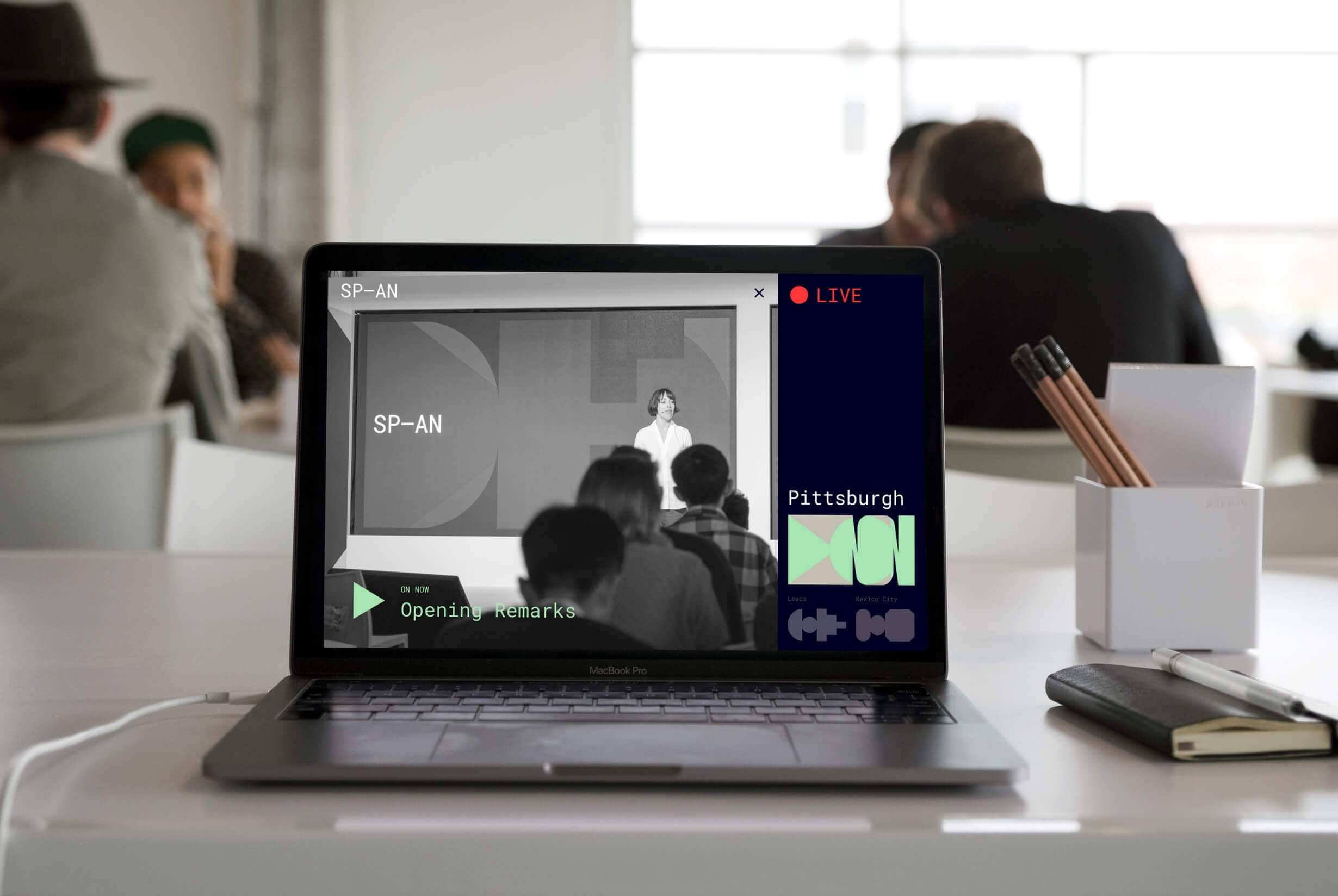 Photo of the Google Span live stream on a laptop