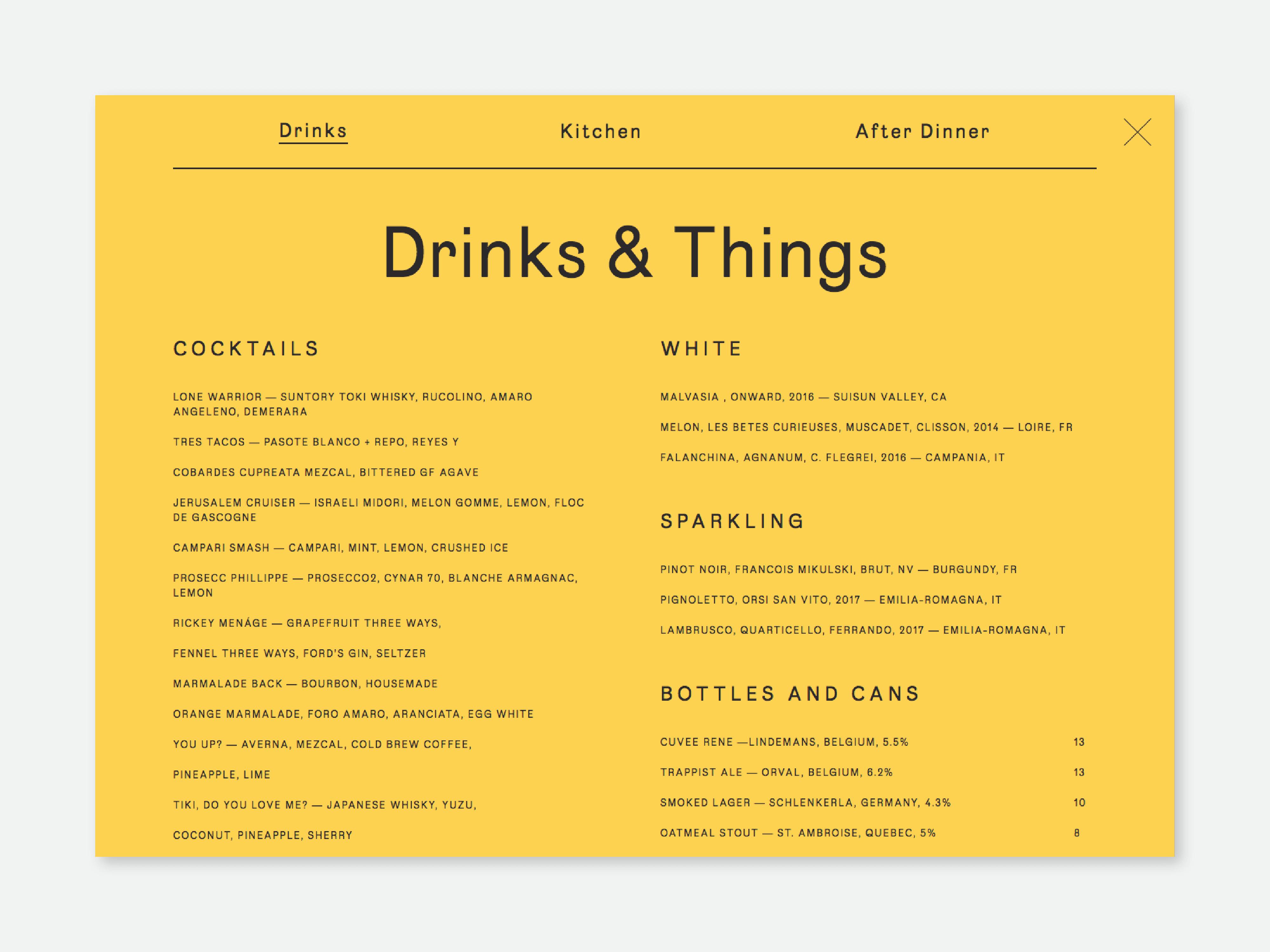 Drinks menu page