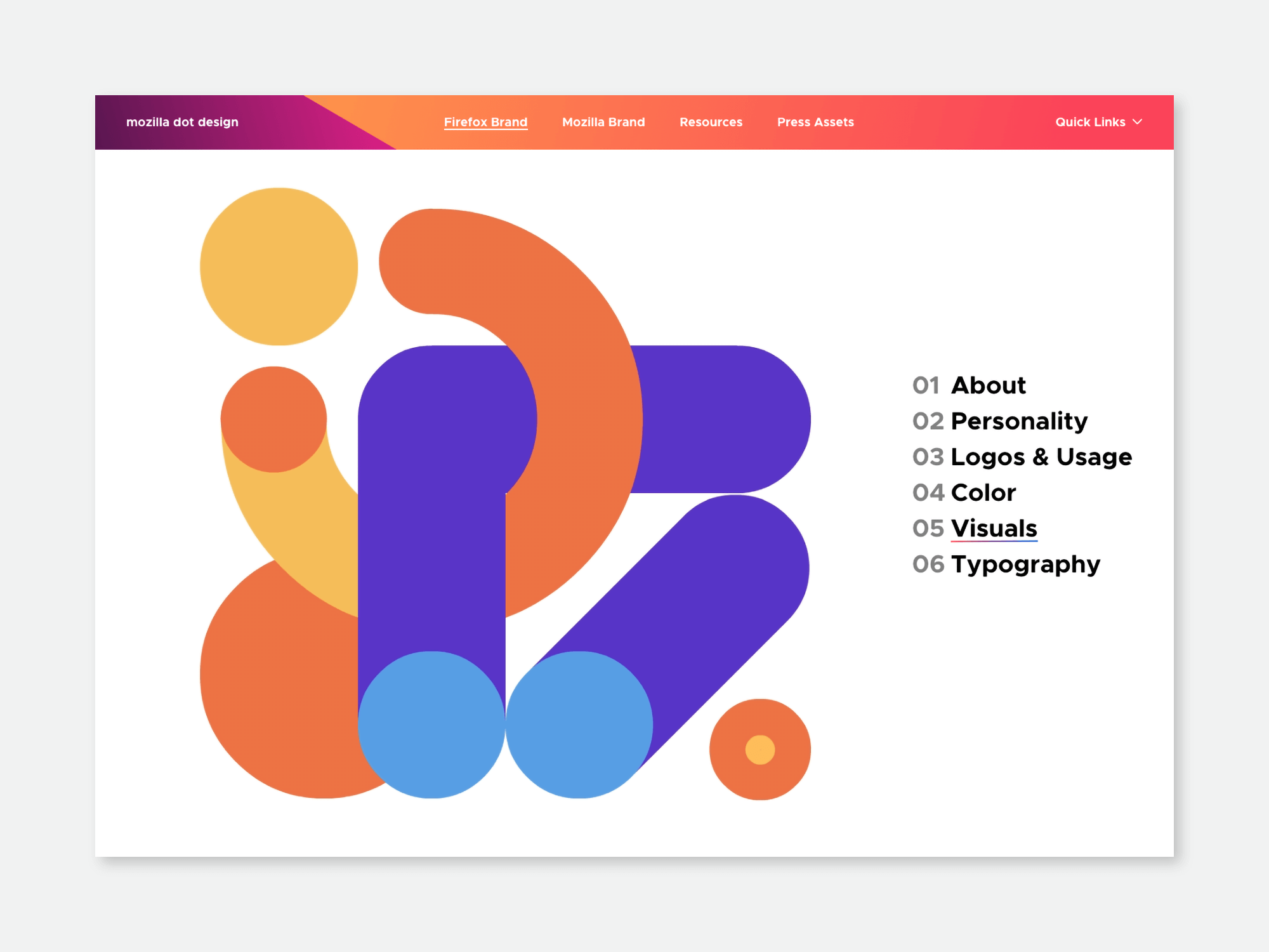 Visuals section of the Firefox brand