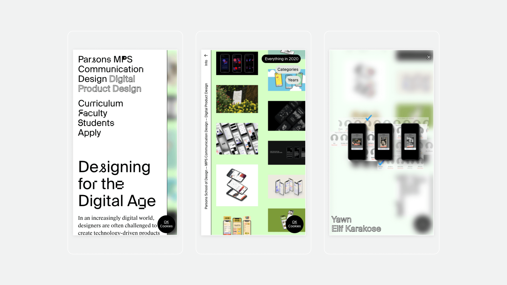 Mobile screens of the Parsons MPS Communication Design page