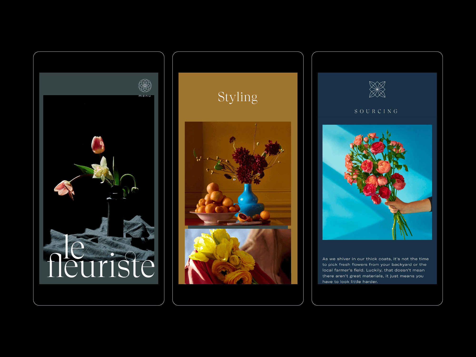 Le Fleuriste mobile screens