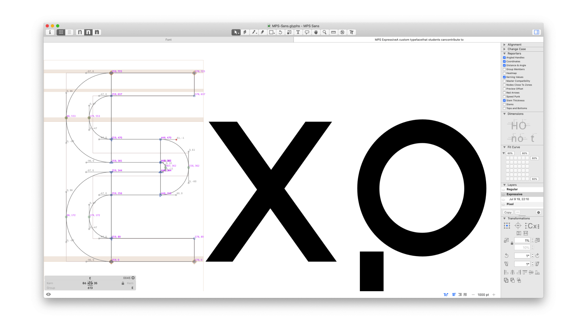Detail view of the glyph editing in type software