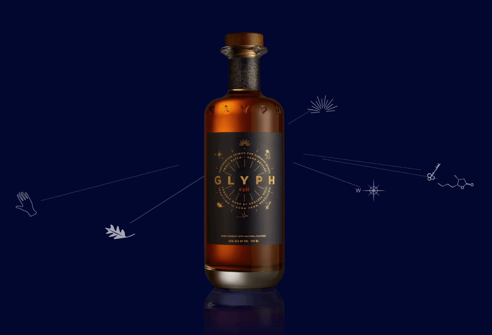 Endless West icons orbiting around a bottle of Glyph whisky