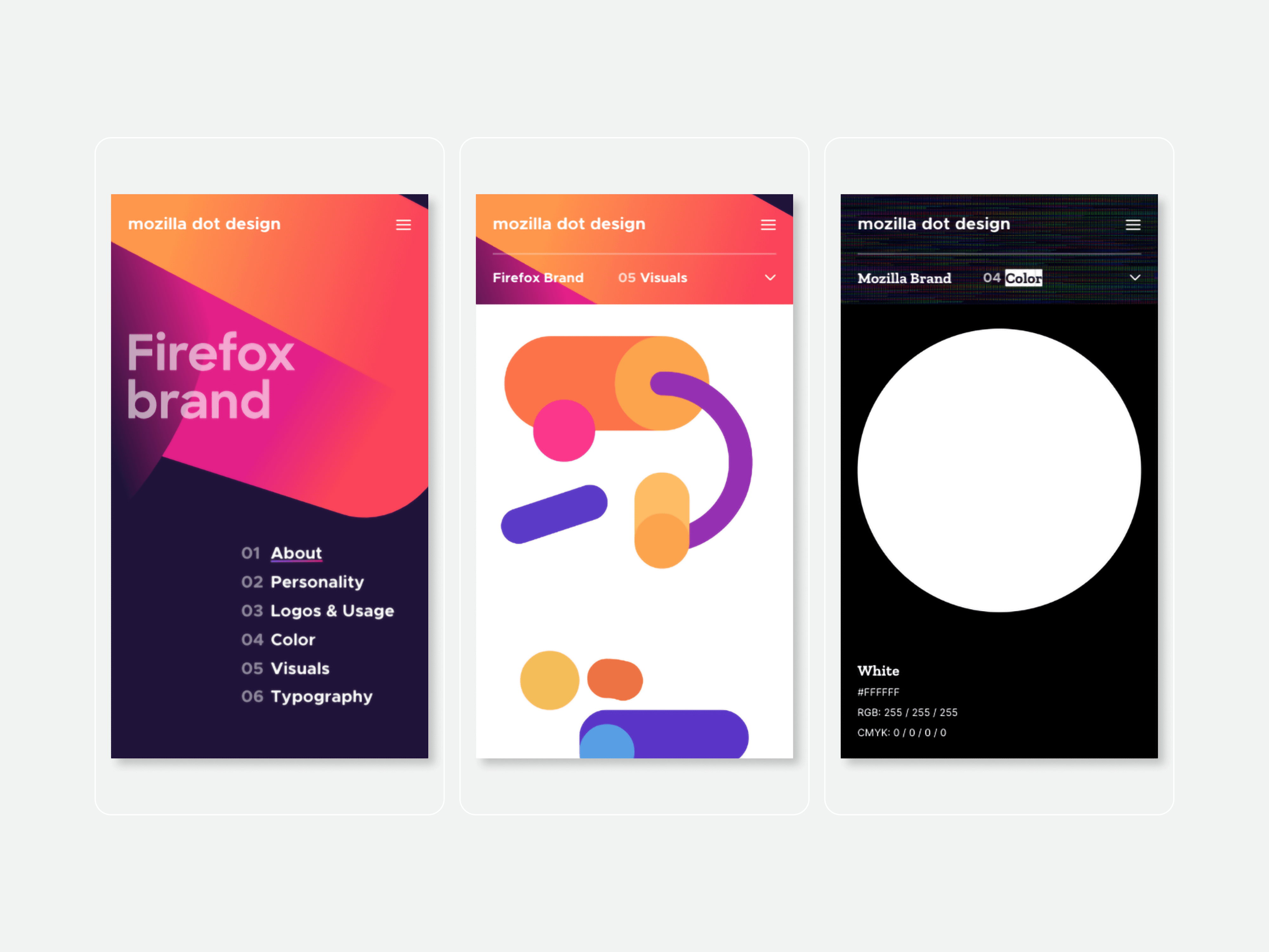 Mobile screens of the Mozilla dot design website