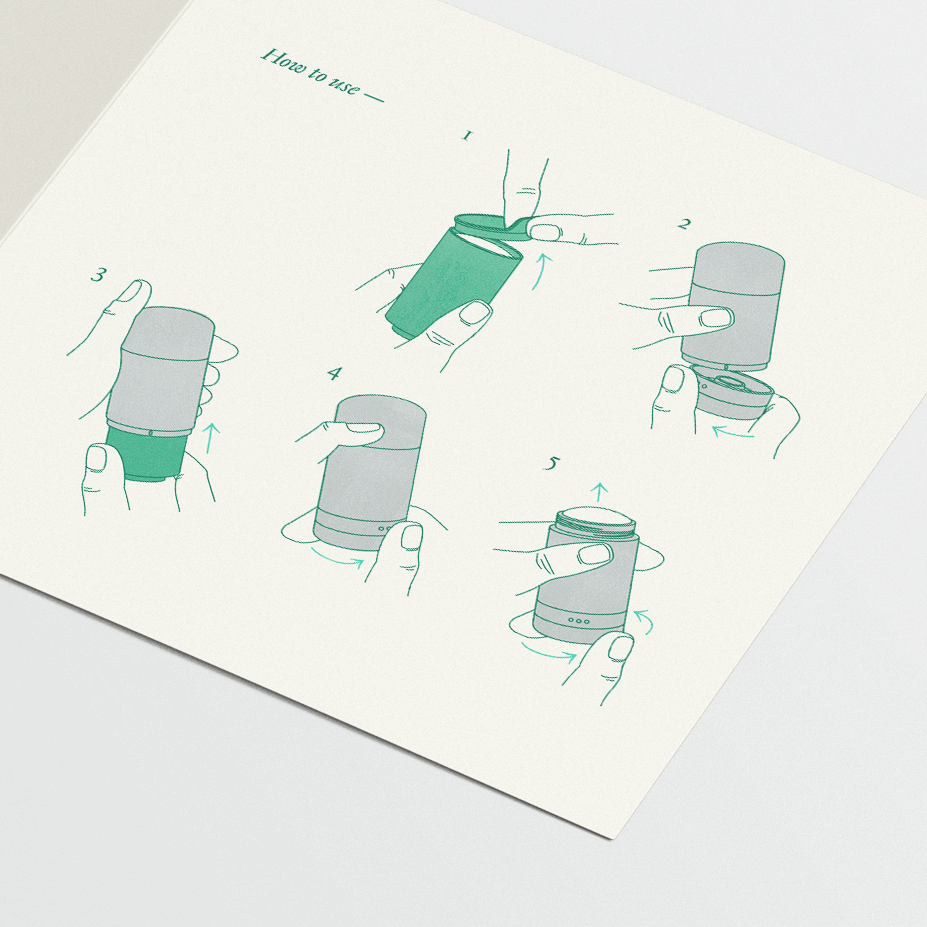 Close-up of illustrations for how to refill a by Humankind deodorant