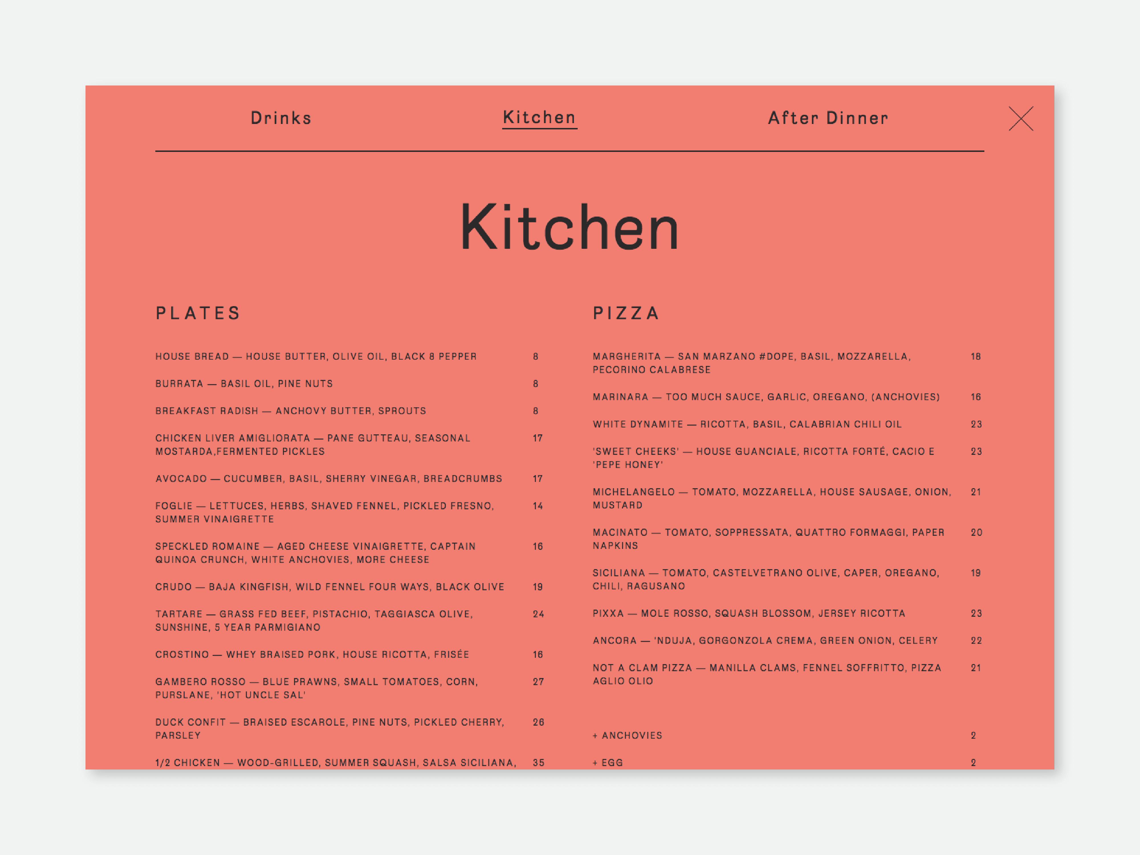 Kitchen menu page