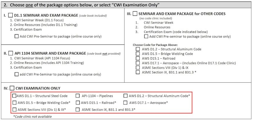 Part of CWI Application Form