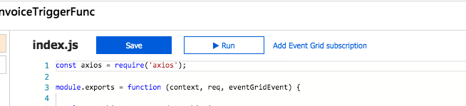 screenshot of azure function portal with save, run and add event grid subscription options