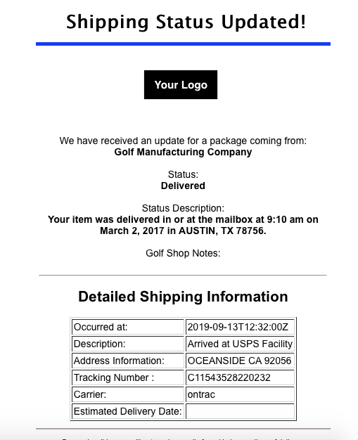 Example email displaying company information and shipping status