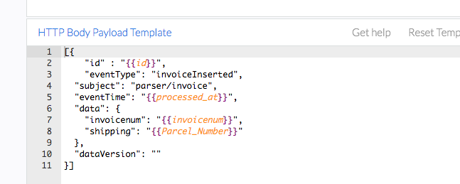 screenshot of HTTP body payload template on docparser