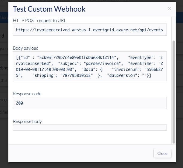 test results for webwook displaying 200 code