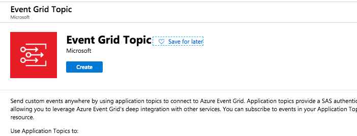 screenshot of option to create new event grid topic