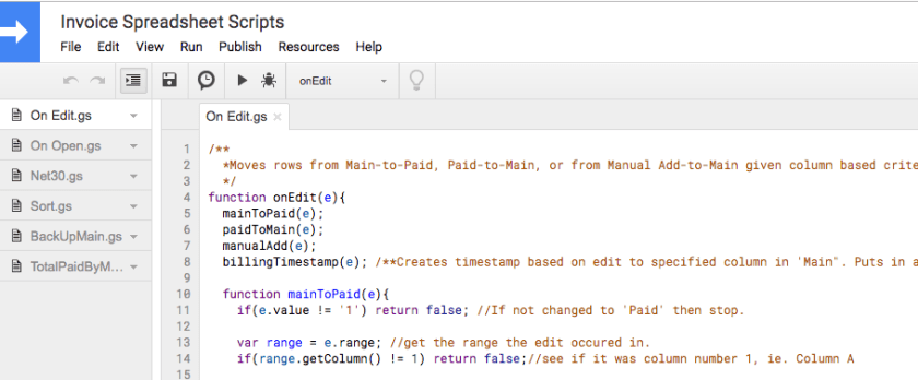 google scripts dashboard with top part of script