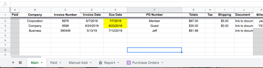 spreadsheet with column labels for manito invoice data