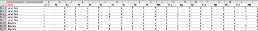 screenshot of spreadsheet showing how names were entered into data transfer spreadsheet