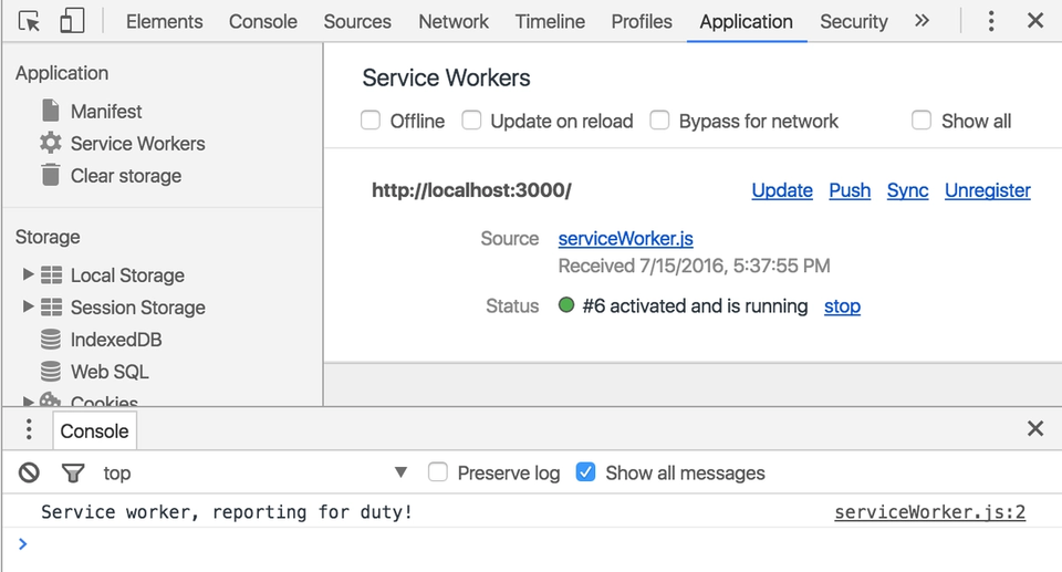 Showing the service worker loaded up in dev tools