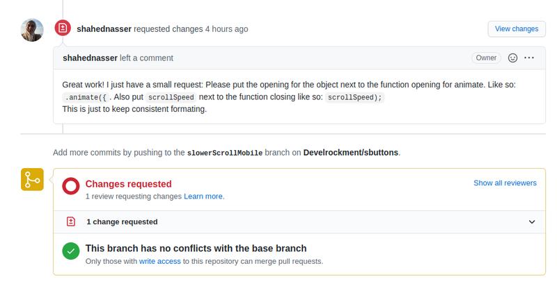 GitHub Change Requested