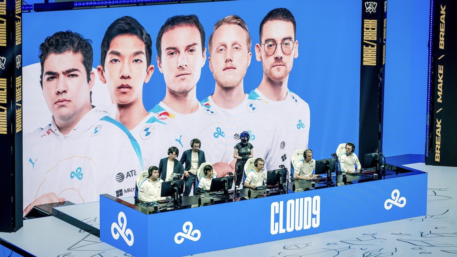 overhead view of Cloud9 League of Legends team on stage at their computers at Worlds 2021