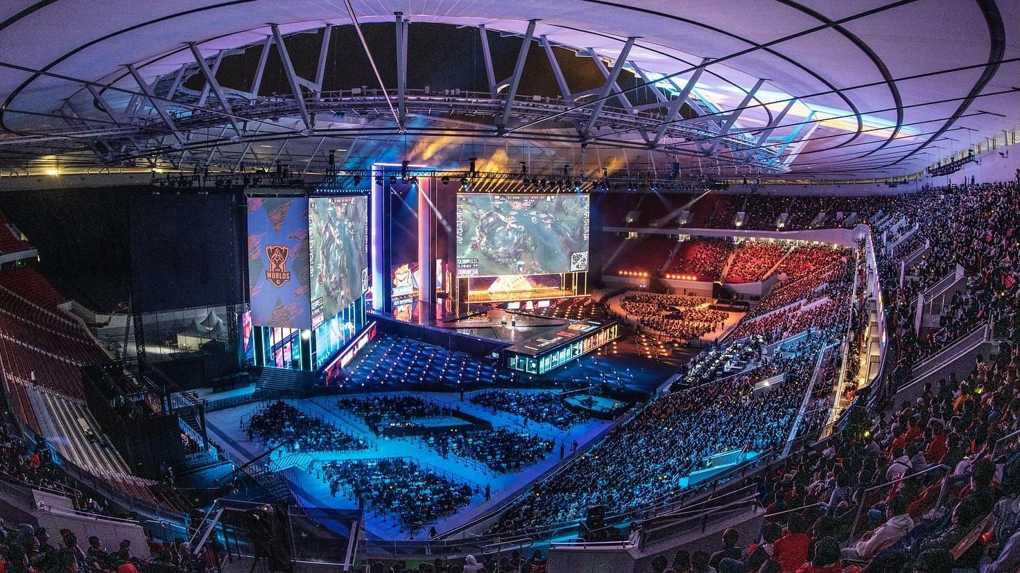 View of the League of Legends World Championship 2021 final stage from the stands of the stadium