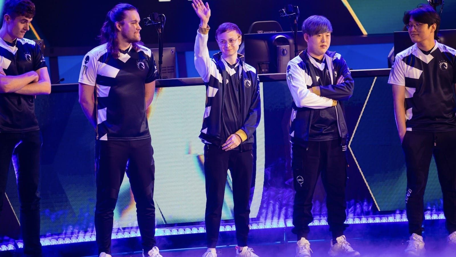 Team Liquid League of Legends team stands on stage before a game