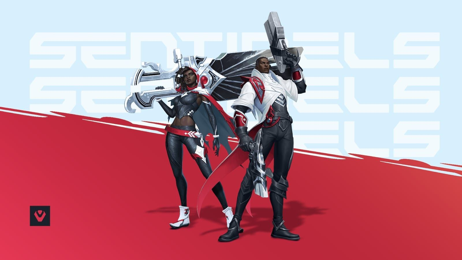Image of two Wild Rift characters in Sentinels esports team uniforms and a red and light gray background
