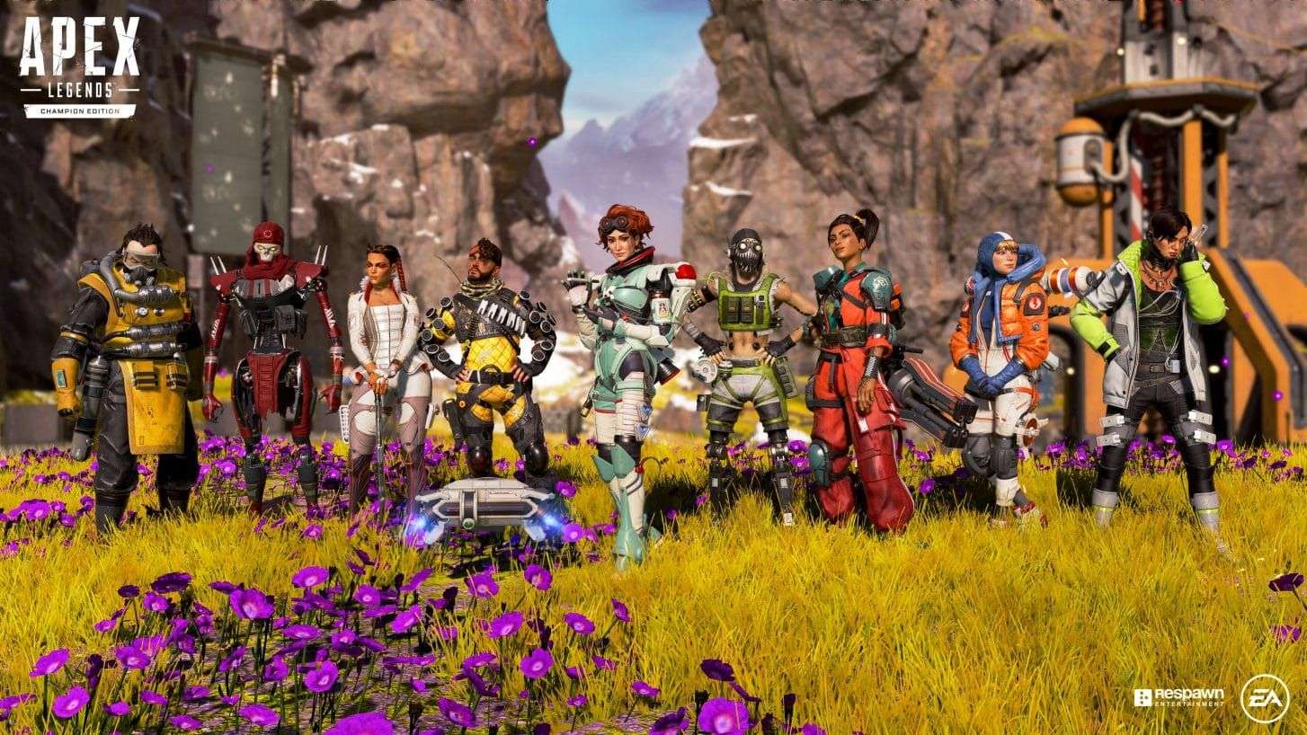 All of the Apex Legends characters in a field