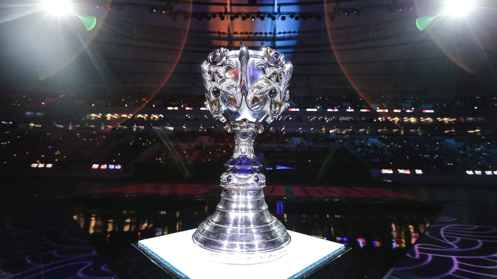League of Legends world championship trophy the Summoner's Cup displayed on stage