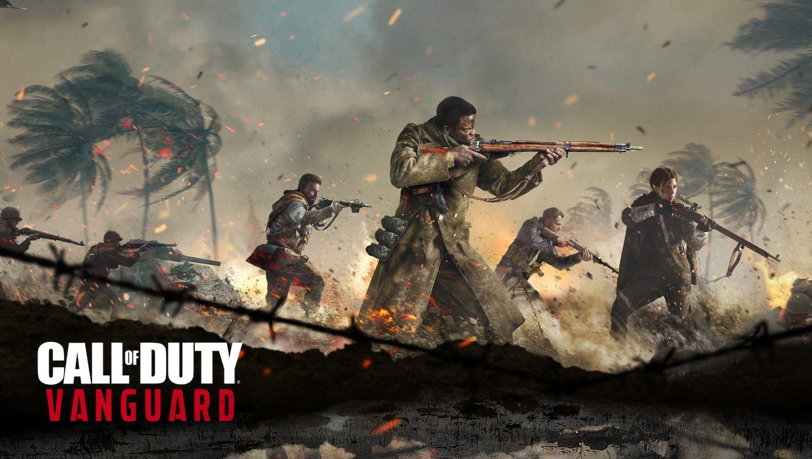 Image from Call of Duty Vanguard game showing WWII era soldiers with guns pointed moving to the right