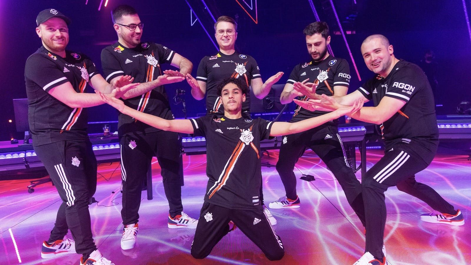 G2 Valorant team celebrate on stage after a match at Masters: Berlin tournament