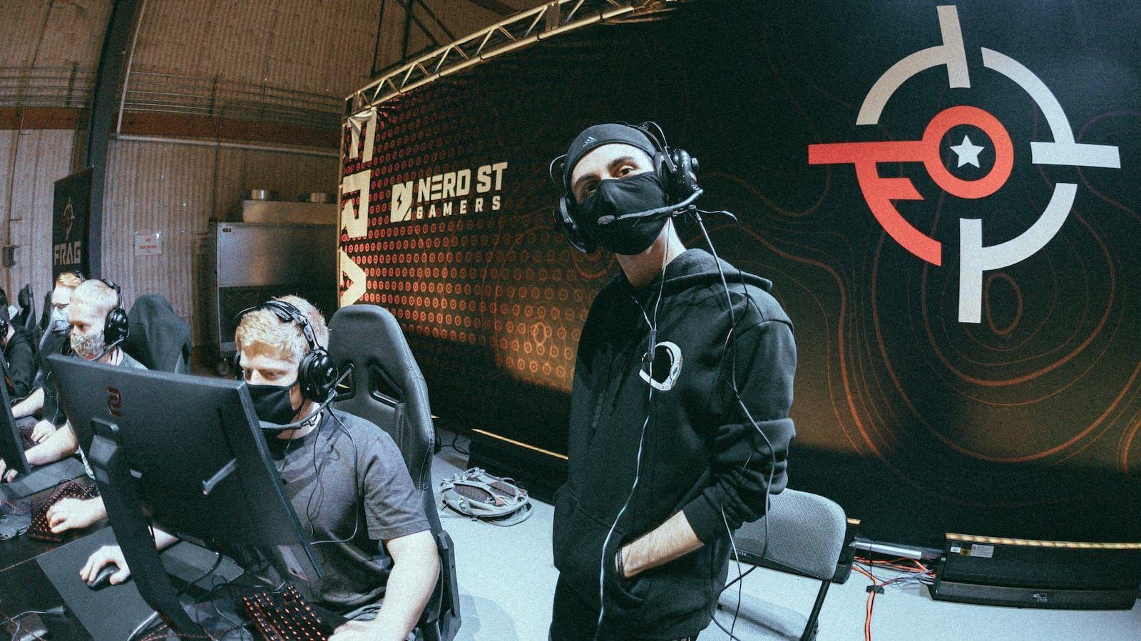 Party Astronauts behind their monitors at Fragadelphia CS:GO tournament