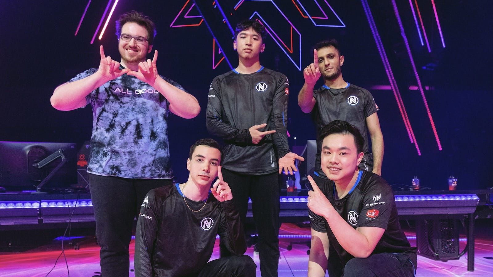 Envy Valorant team pose on stage after win at Masters Berlin tournament