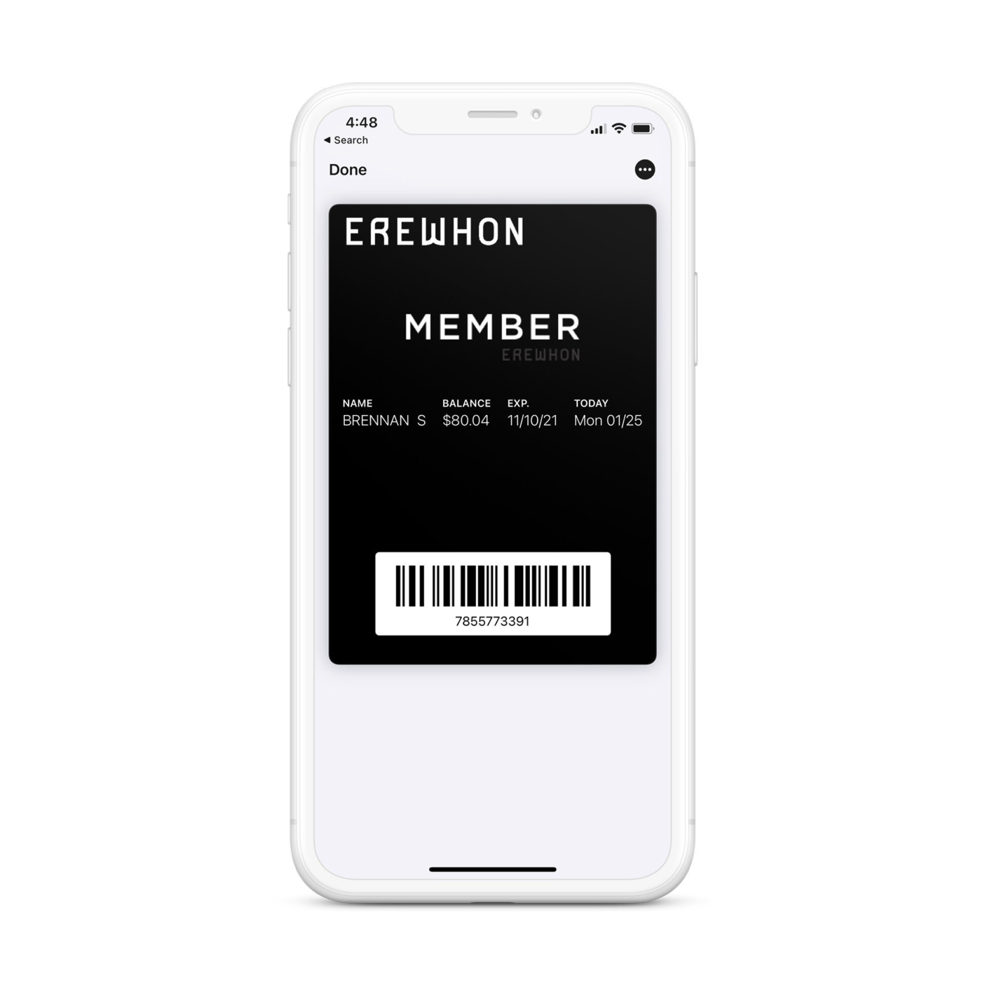 Mobile phone mock up with Erewhon member card