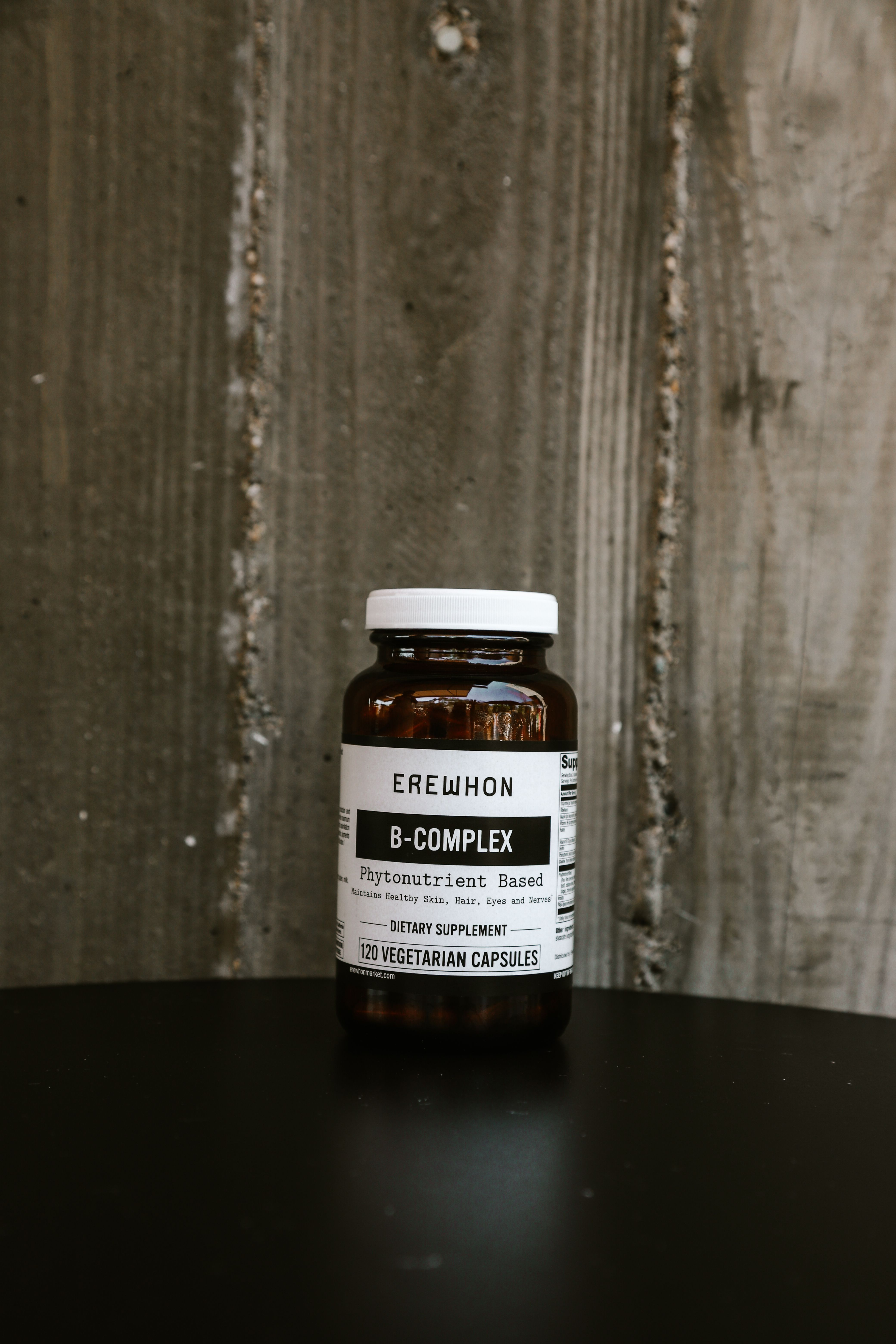 Erewhon Product, container of B-Complex supplement