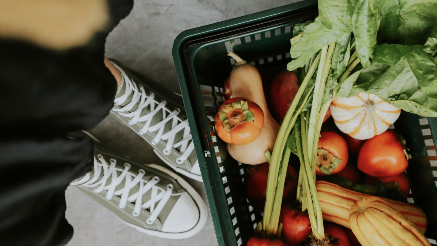 Shoes with grocery basket
