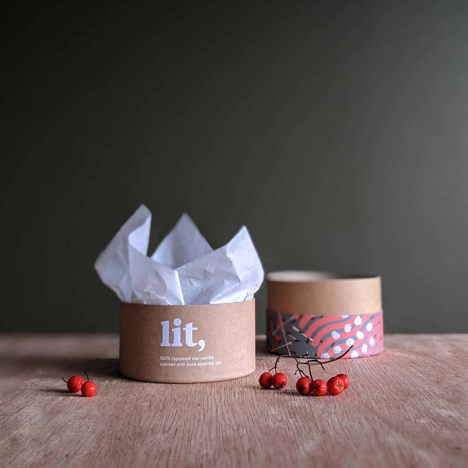 A photograph of Lit Homeware packaging.