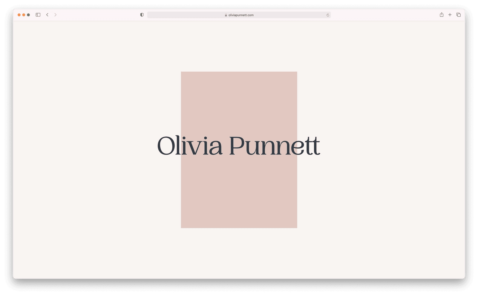 Screenshot of Landing Page for Olivia Punnett's website.