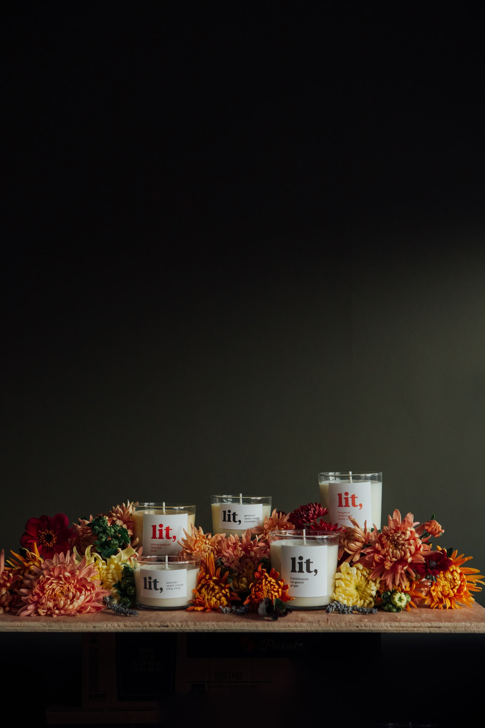 A photograph of the Lit Homeware candles.