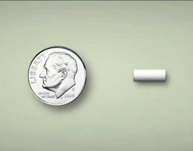 hormone replacement pellet compared to a dime coin